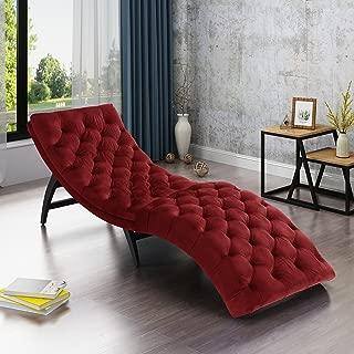 Christopher Knight Home Grasby Tufted Garnet Velvet Chaise Lounge, Dark Brown