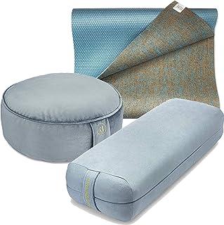 Ajna Wellness Yoga Practice Complete Set - Yoga Bolster, Meditation Cushion, Jute Yoga Mat