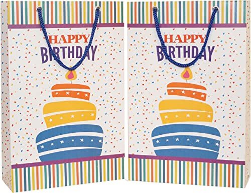 Arrow Birthday Gift Paper Bags, 28 cm x 20 cm x 7.5 cm (Pack of 10)