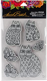 """Stampendous Laurel Burch Cling Stamp W/Template 9""""X5.25""""-Indigo Cats (Pack of 1)"""