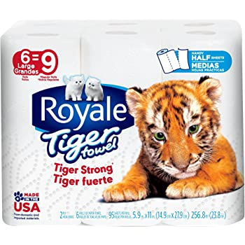 Royale Tiger Paper Towels Choose-A-Size 2 Ply, Large Rolls, 6 Pack