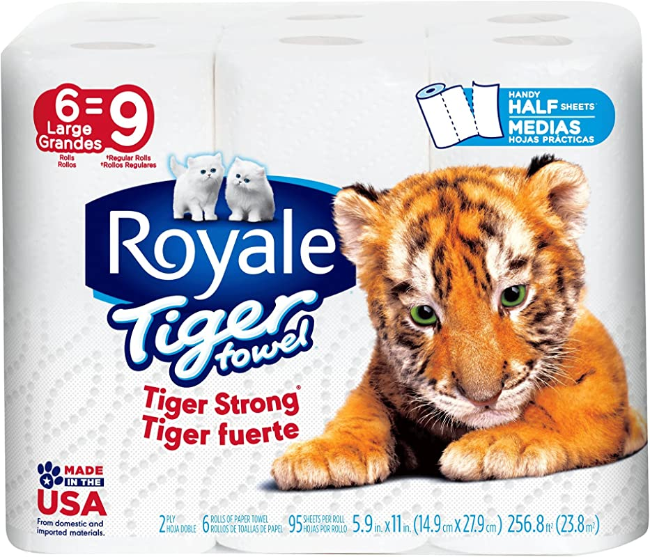 Royale Tiger Paper Towels Choose A Size 2 Ply Large Rolls 6 Pack