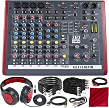 Allen & Heath ZED-10FX Multi-Purpose Miniature Mixer and Deluxe Bundle w/Dynamic Headphones + 11X Cables + Fibertique Cloth