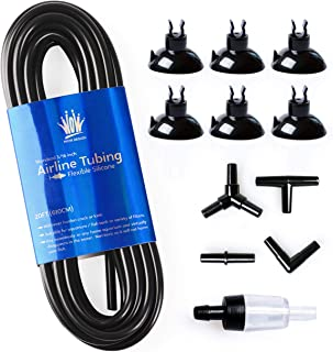 WOW Design 3/16-Inch Professional Flexible Silicone Airline Tubing Standard Aquarium Air Pump Accessories with Check Valves,  Suction Cups and Connectors,  20 Feet(Assorted Colors)