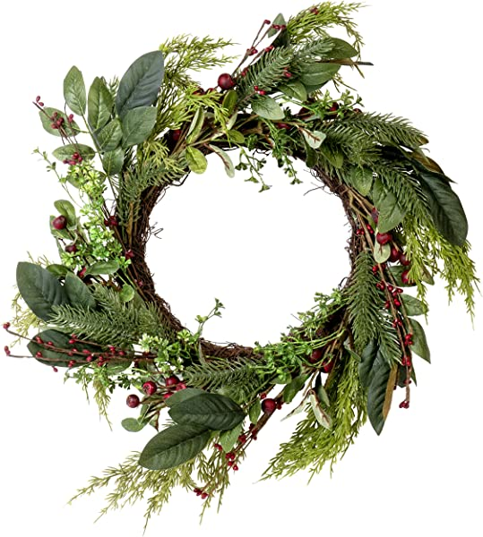 Artificial Red Berry Fern Wreath Great Front Door And Wall Winter Christmas Decoration 24 Inches