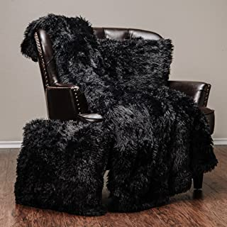 Chanasya 3-Piece Super Soft Shaggy Throw Blanket Pillow Cover Set - Chic Fuzzy Faux Fur Elegant Cozy Fleece Sherpa Throw (50x65) and Two Throw Pillow Covers (18x 18)- for Bed Couch Chair Sofa - Black