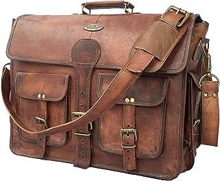 DHK 18 Inch Vintage Handmade Leather Messenger Bag for Laptop Briefcase Best Computer Satchel School Distressed Bag (18 inch)