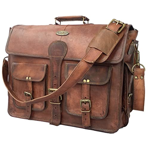Amazon.com  DHK 18 Inch Vintage Handmade Leather Messenger Bag for Laptop  Briefcase Best Computer Satchel School Distressed Bag (18 inch)  Computers    ... ffe18a0b57481