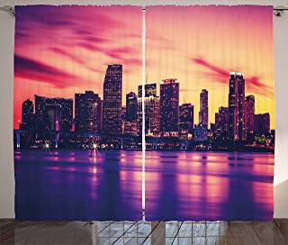 Ambesonne United States Curtains, View of Miami at Sunset Building Urban Modern City Life Ocean Skyline, Living Room Bedroom Window Drapes 2 Panel Set, 108 W X 63 L inches, Purple Pink Peach