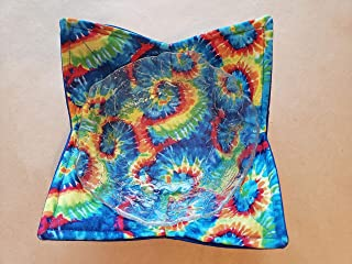 Tie Dye Microwave Bowl Cozy Reversible Microwaveable Potholder Bowl Buddy BoHo Soup Coozie Bohemian Kitchen Linens Teacher Gifts Hippie Handmade Housewarming Hostess Gift Under 10