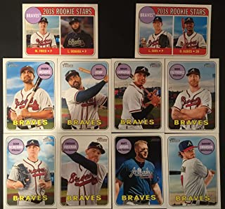 2018 Topp Heritage Atlanta Braves Team Set (Low Numbers Only NO Short Prints) - 10 Cards Including - Ozzie Albies RC, Dansby Swanson, Matt Adams, Max Fried RC, Freddie Freeman, Sean Newcomb, Mike Foltynewicz, and many more.
