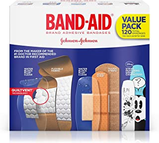 Adhesive Bandage Family Variety Pack for First Aid and Wound Care, Assorted Sizes, 120 ct