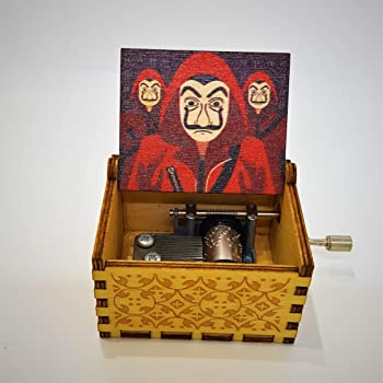 CAAJU Wooden Hand Cranked Collectible Engraved Money Heist Music Box (Berlin)