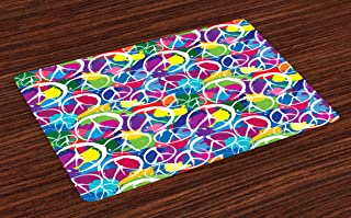 Ambesonne Retro Place Mats Set of 4, Universal Peace Sign on Colorful Pop Art Style Background Pacifist Activism, Washable...