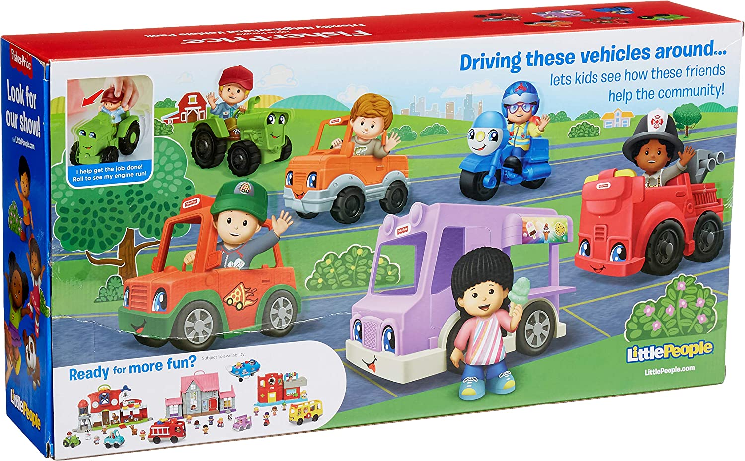 Fisher-Price Little People Friendly Neighborhood Vehicle Gift Set, Toddlers Explore Different Roles People Play in Their Neighborhood with This Set Featuring 6 Roll-Along Vehicles and Figures: Toys & Games