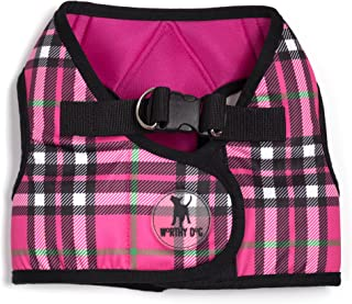 The Worthy Dog Printed Sidekick Plaid Pattern Harness with Padded Mesh Velcro Adjustable, Outdoor, Easy Walk Vest for Small Medium Large Dogs, Hot Pink Color