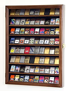 sfDisplay.com,LLC. 80 Zippo Lighter Lighters Match Books Matches Display Case Cabinet Wall Rack Holder Lockable w/98% UV Door (Walnut Wood Finish)