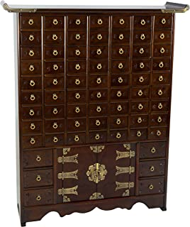 Oriental Furniture Korean Antique Style 63 Drawer Apothecary Chest