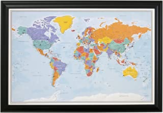 Push Pin World Travel Map with Black Frame and Pins - Blue Oceans - 27.5 inches x 39.5 inches