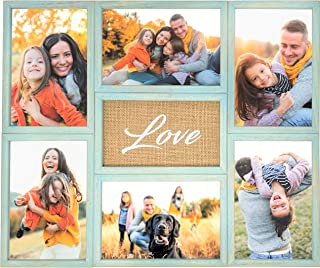 Collage Picture Frame | 6-4x6 Photos | Distressed Solid Wood | for Wall and Desk - Teal with Burlap