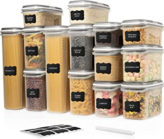 LARGE SET 28 pc Airtight Food Storage Containers with Lids (14 Container Set) Airtight Plastic Dry Food Space Saver Boxes,...