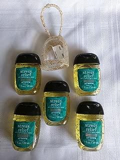 Bath & Body Works Stress Relief Eucalyptus Spearmint PocketBac Anti-Bacterial Hand Gel and Holder - 5 ct bundle