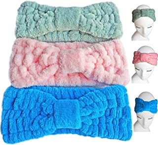 3 PACK (Blue/Green/Pink) Microfiber Bowtie Women Beauty Headbands, Extrame Soft & Ultra Absorbent, Comfort to Wash Makeup Mask Shower Facial Skincare Spa Thick Hair Band for Girls