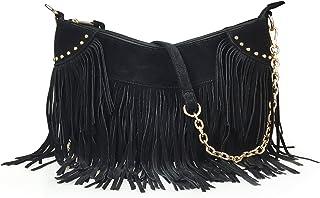 e9b6e1d158 Hoxis Studded Tassel Faux Suede Leather Hobo Cross Body Chain Shoulder Bag  Women s Satchel