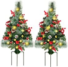 Juegoal 2 Pack 30 Inch Pre-Lit Pathway Christmas Trees Decor with LED Lights, Berries, Pine Cones, Ornaments
