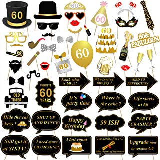 60th Birthday Party Photo Booth Props (51Count) for Her Him 60th Birthday Gold and Black Decorations, Konsait Big 60 Birthday Party Supplies for Men and Women
