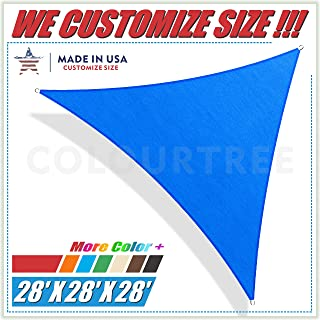 ColourTree 28' x 28' x 28 Blue Triangle Sun Shade Sail Canopy – UV Resistant Heavy Duty Commercial Grade -We Make Custom Size