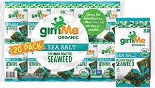 gimMe Organic Roasted Seaweed Sheets - Sea Salt - 20 Count - Keto, Vegan, Gluten Free - Great Source of Iodine and Omega 3...