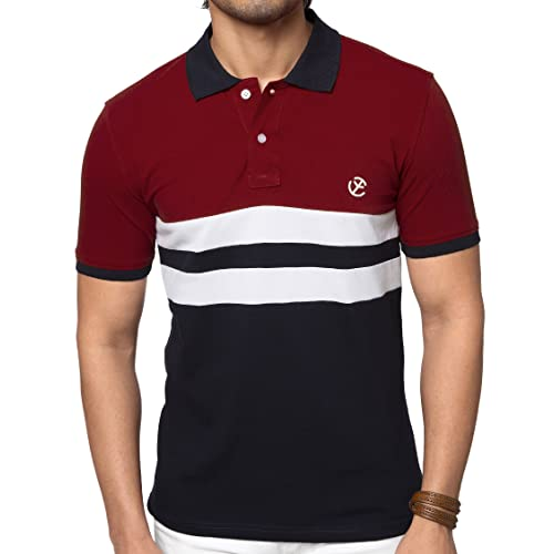 9f859d96c ZEYO Men's Cotton 2-Blocked Red & Navy Blue Polo Tshirt Half Sleeve