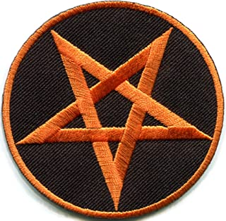 Pentagram Pentacle Satanic Occult Goth Wicca Wiccan Witch Orange on Black DIY Embroidered Applique Iron-on Patch S-1175