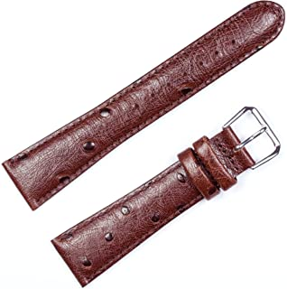 Ostrich Grain Watch Band Brown 20mm Watch Band - by deBeer