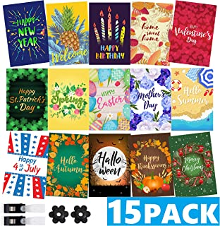 Mogarden Seasonal Garden Flags Set - 15 Pack, Free 2 Stopper & 2 Wind Clip, Double Sided Yard Flags, 12