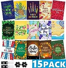 Mogarden Seasonal Garden Flags Set - 15 Pack, Free 2 Stopper & 2 Wind Clip, Double Sided Yard Flags, 12