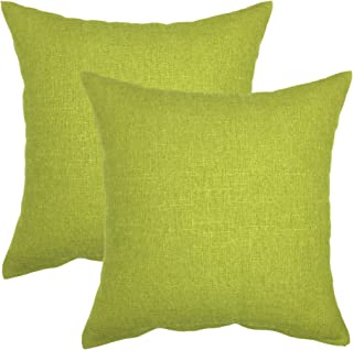 YOUR SMILE Pure Square Decorative Throw Pillows Case Cushion Covers Shell Cotton Linen Blend 18 X 18 Inches, Pack of 2 (Green)