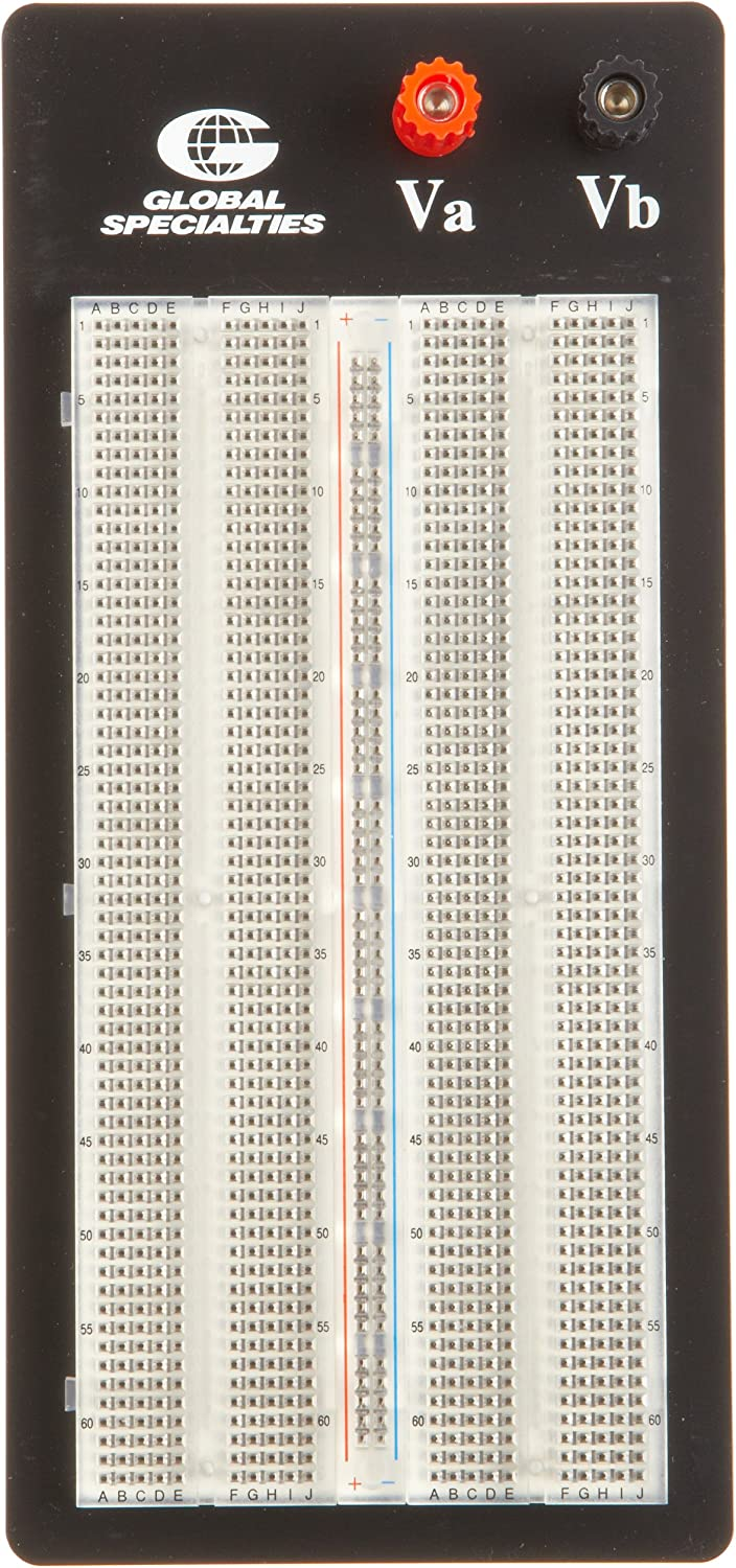 Global Specialties PB101T Externally Powered Breadboard with Aluminum Back Plate and Transparent Socket, 1260 Tiepoint, 87 16  Length x 315 16  Width x 125 64  Height