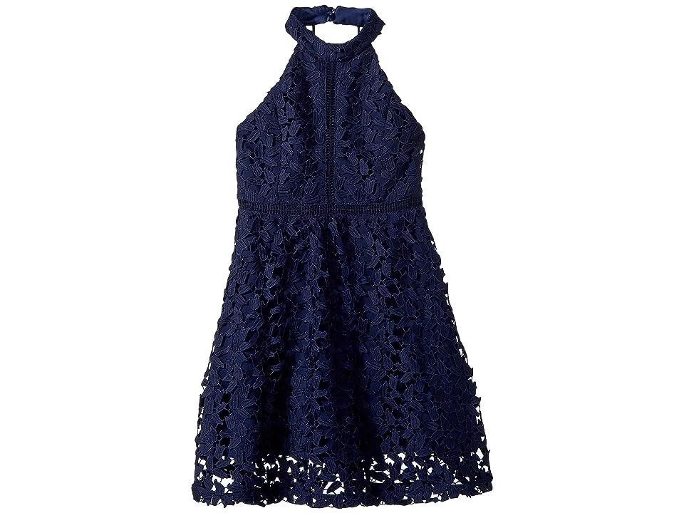 Bardot Junior Gemma Halter Dress (Big Kids) (Blue Ink) Girl