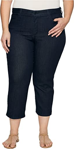 NYDJ Plus Size Plus Size Marilyn Capris in Dark Enzyme Wash