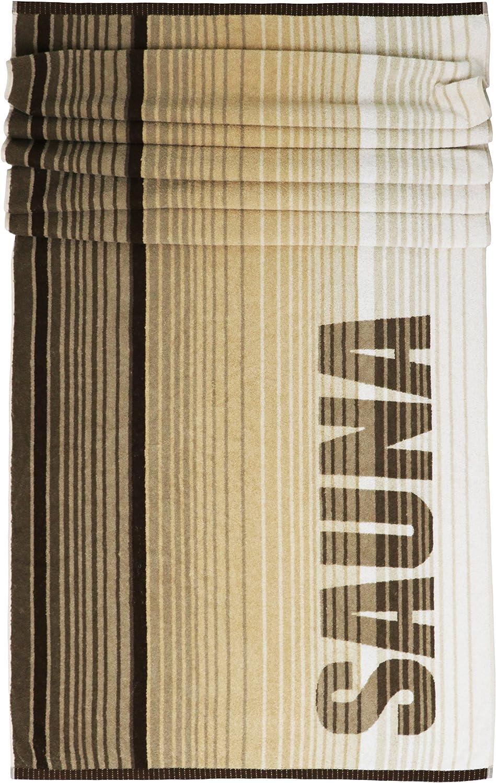 Lashuma Saunatuch Oslo gestreift gestreift gestreift   braun - beige   XXL Liegetuch mit Sauna Aufschrift   Strandtuch   Badetuch   85 x 200 cm B07C6VLB7N 428af9