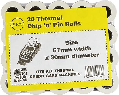 Quest - Lot de 20 rouleaux thermiques Chip'n'Pin - Dimensions : 57 x 30 mm - S'adapte à toutes les machines thermique...