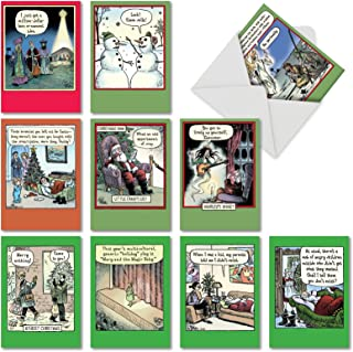 10 Assorted 'Bizarro by Piraro Holiday' Boxed Hilarious Christmas Cards - Featuring Funny Cartoon Comics for a Happy Holiday Season with Envelopes - Assortment Box of Merry Xmas Gifts A5546XSG-B1x10