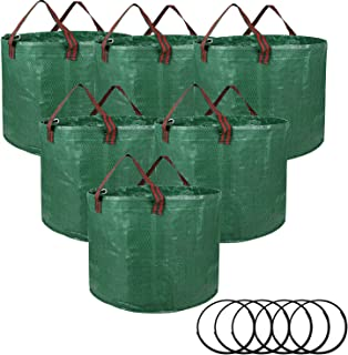 iPower LGWBAG16X3X2 6-Pack 16-Gallon Reusable Garden Waste Bags for Patio, Yard, Laundry Container and Trash Can, Green