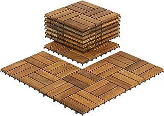 Bare Decor BARE-WF2009 Solid Teak Wood Interlocking Flooring Tiles (Pack of 10), 12in x 12in, Brown (Renewed)