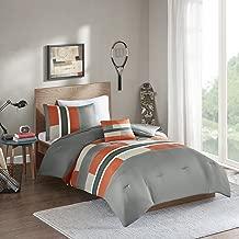 Comfort Spaces Pierre 4 Piece Comforter Set All Season Ultra Soft Hypoallergenic Microfiber Pipeline Stripe Boys Dormitory Bedding, Full/Queen, Orange Grey