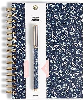 U Brands Navy Floral Spiral Bound Journal and Pen Set, Gold-tone Hardware, 2 Pieces