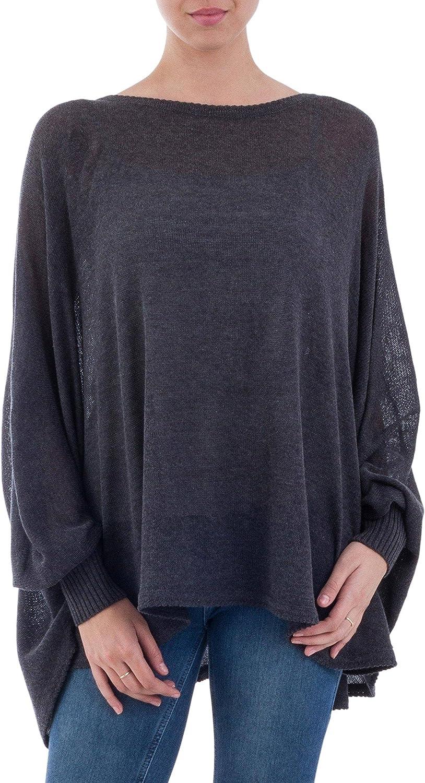 NOVICA Black Cotton Blend Knit Bohemian Drape Sweater, Charcoal Breeze'