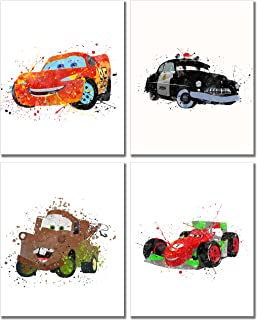 Cars Watercolor Prints - Set of 4 (8 inches x 10 inches) Wall Art Decor Kids Bedroom Photos Lightning McQueen Tow Mater Francesco Bernoulli Sheriff
